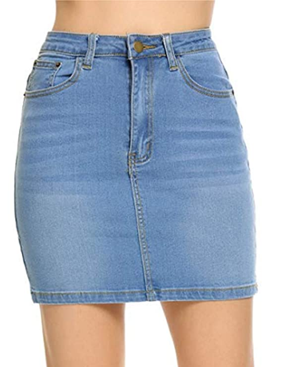 Womens Stretch Slim Fit Denim Mini Skirt, Blue, Medium best jean skirts