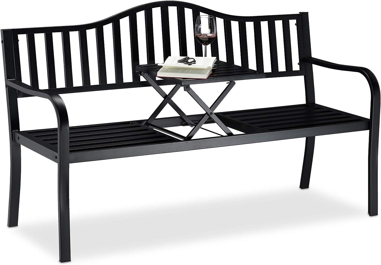 Relaxdays, Negro, Banco Jardín y Terraza de 3 Plazas con Mesa Plegable, Acero, 90 x 150 x 57,5 cm