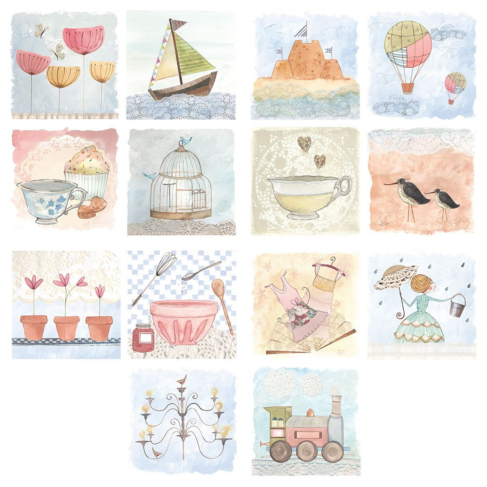 Pack of 14 - Luxury Blank Square Greeting Cards pack - Contemporary Watercolour Cards - Mixed / Multi-purpose My Designer Card