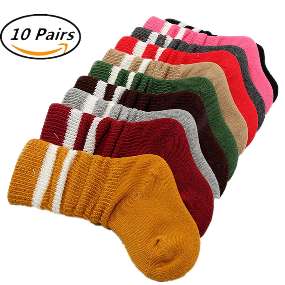 Children Socks, Chickwin 10 Pairs Comfort Cotton Rich Unisex Foot Warmer