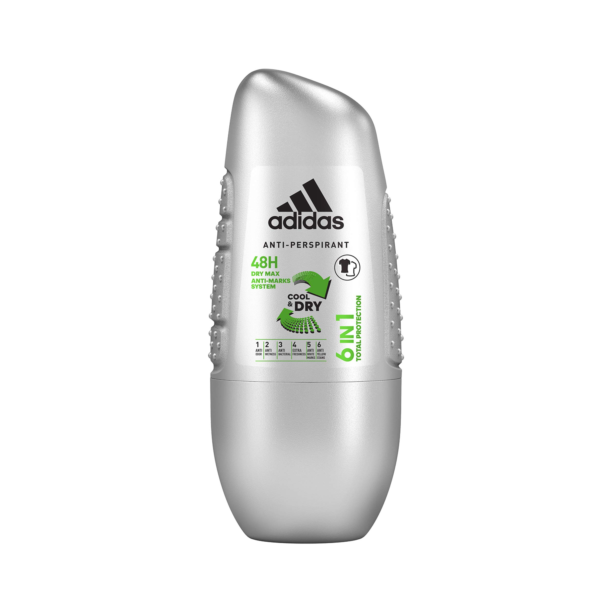 adidas 6 In 1 Cool & Dry 48h Anti Perspirant Roll On for Men, 50 ml