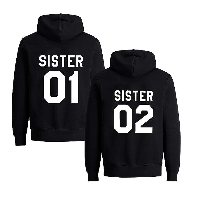 Womens Teen Girls Cute Best Friends Hoodies Sister BFF Couple Hooded Sweatshirt Funny Hooded Sweater Tops Clothes