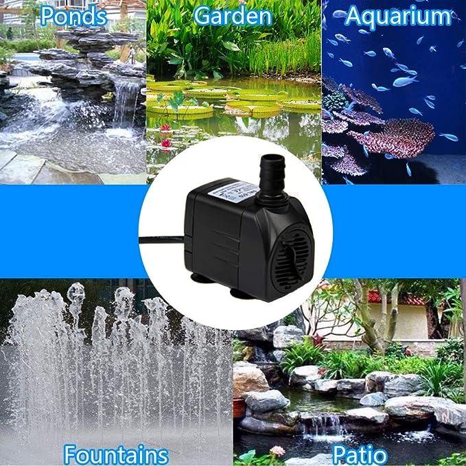 SZ Yideng Bomba De Agua Sumergible, 400GPH 1500L/H 25W Mini Bombas Sumergibles para Fuentes para Mascotas, Acuario, Acuario, Estanque, ...