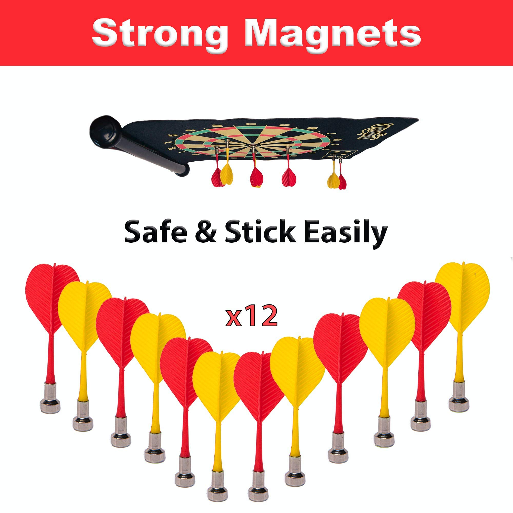 Naimay Magnetic Dart Board for Kids, Teenagers and Adults - Roll-Up, Double Sided, Hang it Anywhere Safe Toy Dart Game Set with 12 Darts - Indoor/Outdoor Game - Gift for Boys and Girls Age 7+