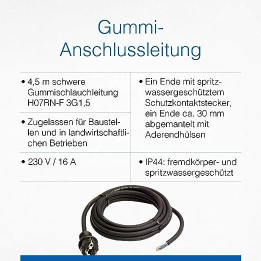 As Schwabe Gummi Anschlussleitung 4 5 M Leitung Mit Spritzwassergeschütztem Schutzkontaktstecker Baustellen Gewerbe Ip44 Schwarz I 60379 Baumarkt