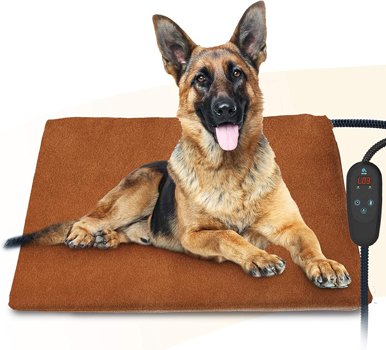 2020 Newest Pet Heating Pad Temperature Adjustment Dog Heating Pad Anti-bite Puppy Heating Pad with Timer Cat Heating Pad Indoor Waterproof Pet Warming Pad Electric Heated Bed Mat for Medium/Large Dog