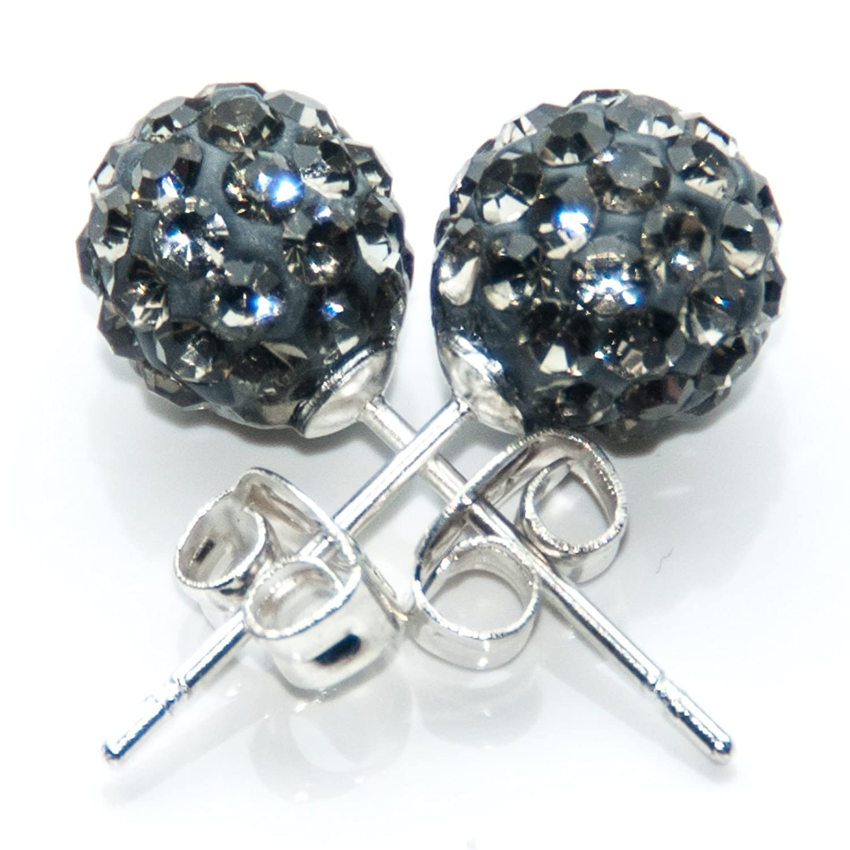 8mm Pair Of SHAMBALLA Ball EAR STUD Multi Crystal Clay Earrings