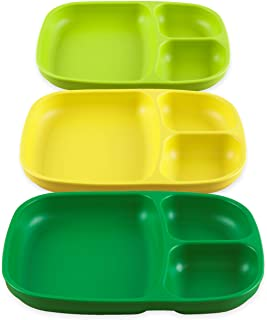 product image for Re-Play Set of 3 - Made in The USA Deep Divided Heavy Duty Dining Plates with 3 Compartments for All Ages - Kelly Green, Lime Green, Yellow (Stem)