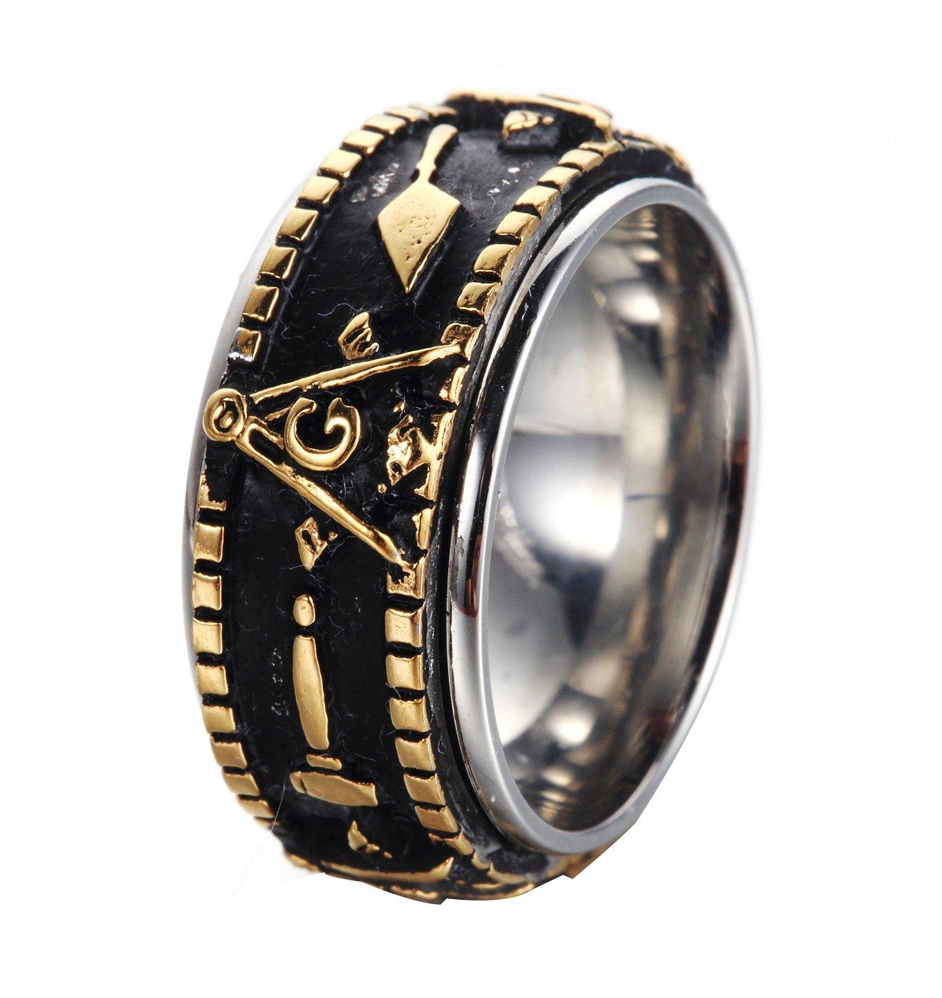 Rinspyre Men's Stainless Steel Vintage Spinner Freemason Masonic Ring Gold Plated Size 7