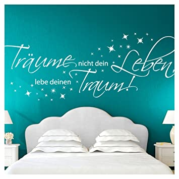 Wandora Wandtattoo Zitat Träume Nicht Dein Leben I schwarz (BxH) 150 x 58  cm I Wohnzimmer Schlafzimmer Sticker Aufkleber Wandaufkleber Wandsticker ...