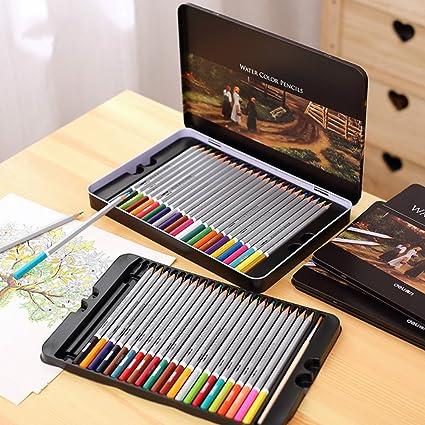 72 lápices de colores, juego de lápices de colores profesionales para dibujar pintura de dibujo caja de lata arte escuela artista suministros lápiz de color: Amazon.es: Oficina y papelería