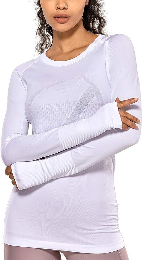 CRZ YOGA Mujer Ropa Deportiva Sports Casuales Camiseta sin Costura Manga Larga