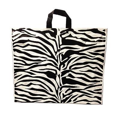 100x 100nouveaux Sacs de transport en plastique robuste Zebra Imprimé Poignée solide Lot de 50 22''X18''+4