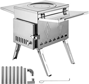 Happybuy Tent Wood Stove 18.1x15x27.2 inch, Camping Wood Stove 304 Stainless Steel with Folding Pipe, Portable Wood Stove 113 inch Total Height for Camping, Tent Heating, Hunting, Outdoor Cooking