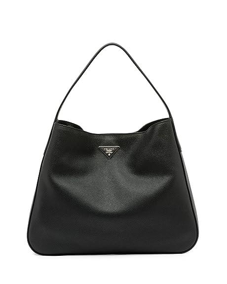 81973ff63492 Prada Vitello Daino Medium Wide-Strap Hobo Bag, Black (Nero): Amazon.ca:  Shoes & Handbags