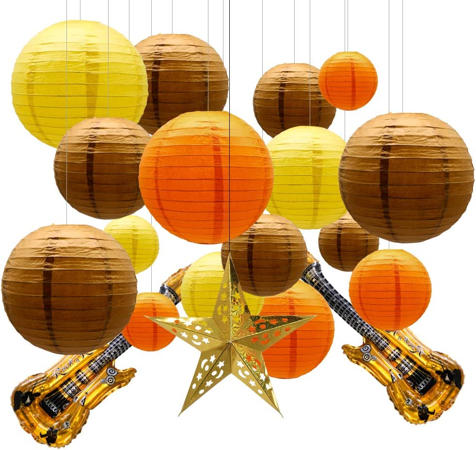 KAXIXI Round Chinese Yellow Brown Orange Pumpkin Color Paper Lanterns Decorative 19pcs with Guitar Foil for Fox Deer Forest Animal Birthday Graduation Thanksgiving Day Decorations Baby Shower