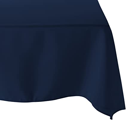 LinenTablecloth 70 Inch Square Polyester Tablecloth Navy Blue