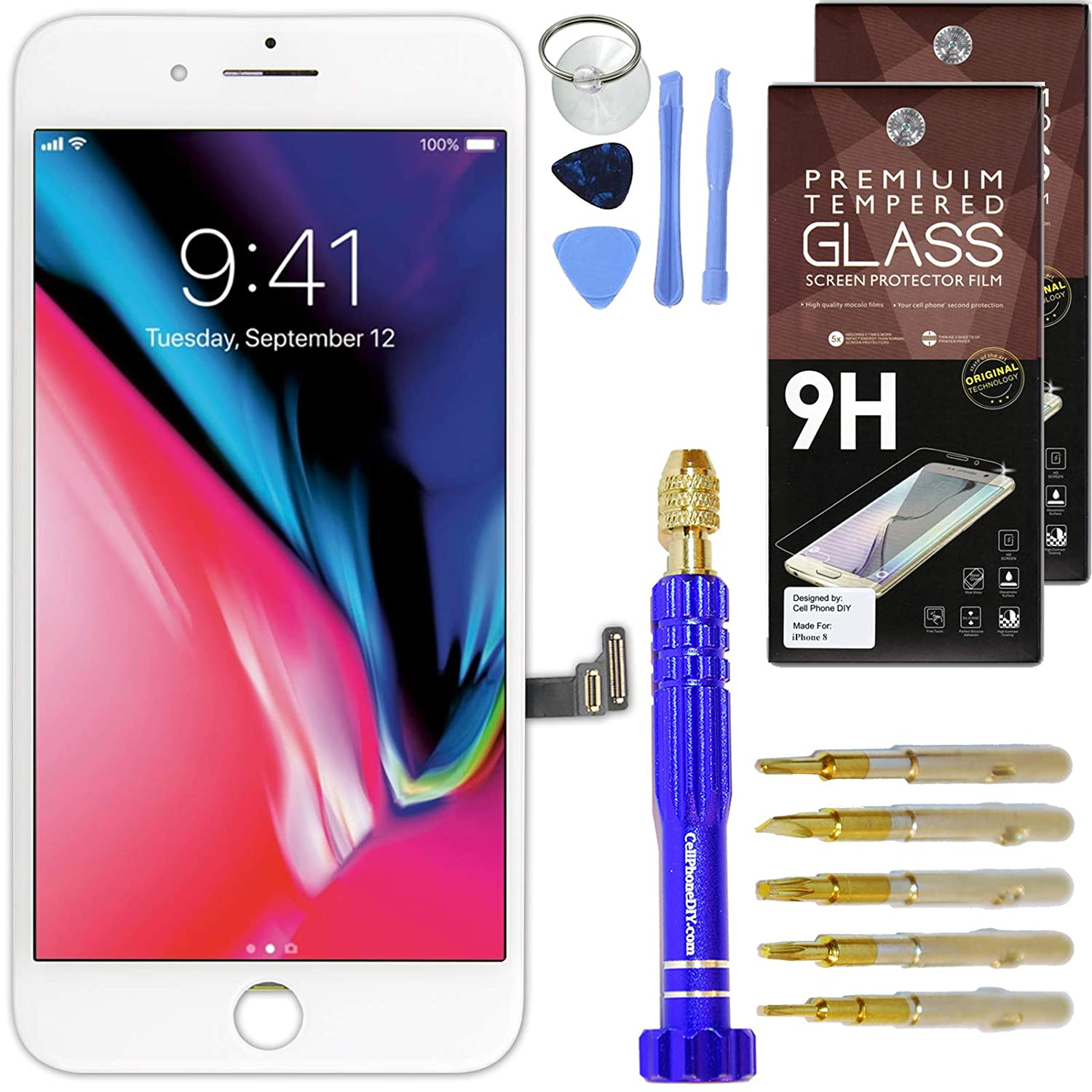 Cell Phone DIY Black iPhone 8 Plus Screen Replacement 5.5' LCD Touch Screen Digitizer Assembly Set + Premium Glass Screen Protector + Pro Repair Tool Kit A1864 A1897 A1898