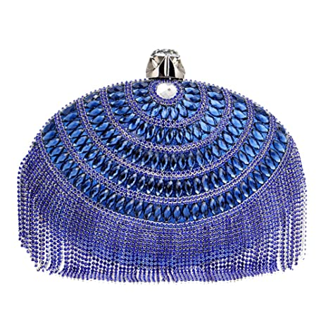 Mujer Bolso Noche Bolsas Fiesta Boda Cartera Mano Cadena Embrague Azul