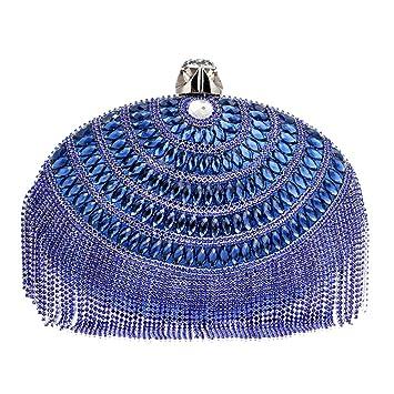 Mujer Bolso Noche Bolsas Fiesta Boda Cartera Mano Cadena Embrague Azul: Amazon.es: Equipaje