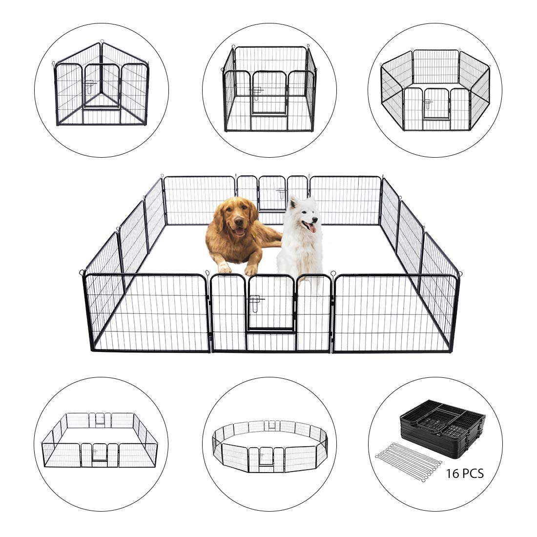 VIVOHOME Heavy Duty Foldable Metal Indoor Outdoor Exercise Pet Fence Barrier Playpen Kennel for Dogs Cats 16 Panels
