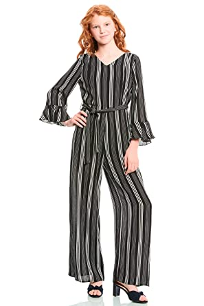6af4b0267e1d Truly Me, Big Girls' Designer Stripe Printed Spring/Summer Jumpsuit with  Long Bell