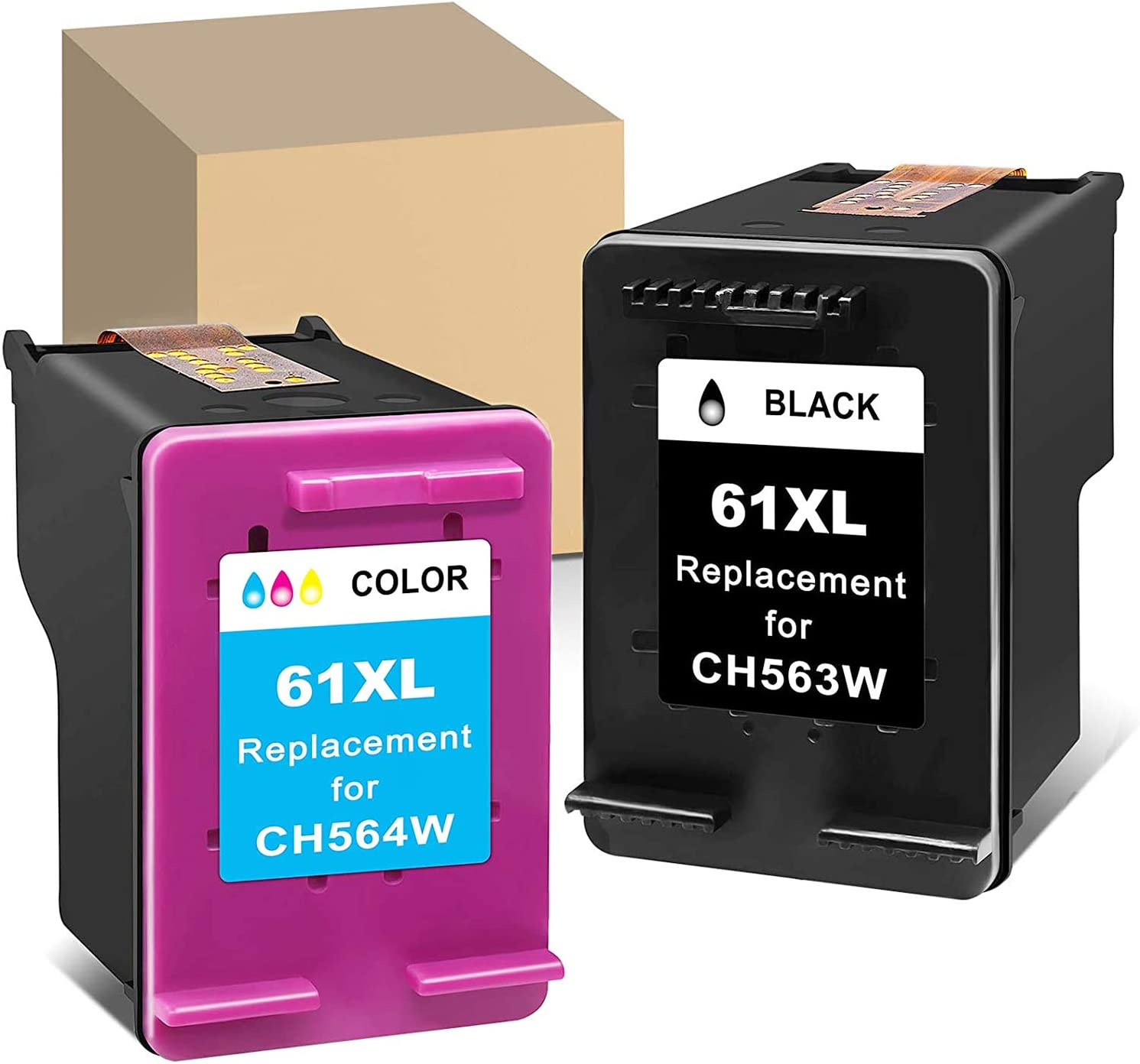 MaxPage Remanufactured Ink Cartridge Replacement for HP 61XL 61 XL Black Tri-Color to Use with Envy 4500 4502 5530 DeskJet 2512 1512 2542 2540 2544 3000 3052a 1055 3051a 2548 OfficeJet Printer, 2-Pack