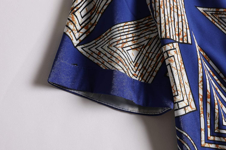 informal estampado floral con botones met/álicos dise/ño tribal africano Dashiki ajustado Fueri Camiseta de manga corta para hombre