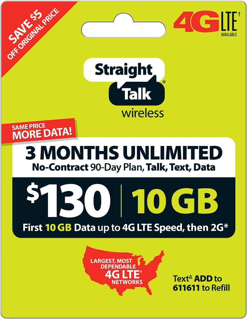 Straight Talk 3 Months Unlimited Service Card (Mail Delivery)