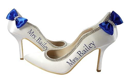 Royal Blue Bow Wedding Heels in Ivory