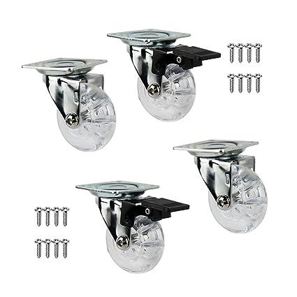 QC E50T22P 4 Ruedas para muebles 2 con freno y 2 sin freno. Diámetro 50mm