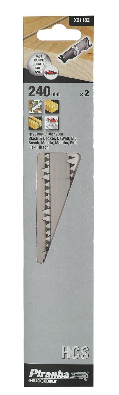 Piranha HCS-Sä belsä geblatt (fü r Holz/Ä ste/Bü sche, 240 mm Lä nge, grobe Zahnung, schneller Schnitt) 2 Stü ck, X21182 BLAMT X21182-XJ