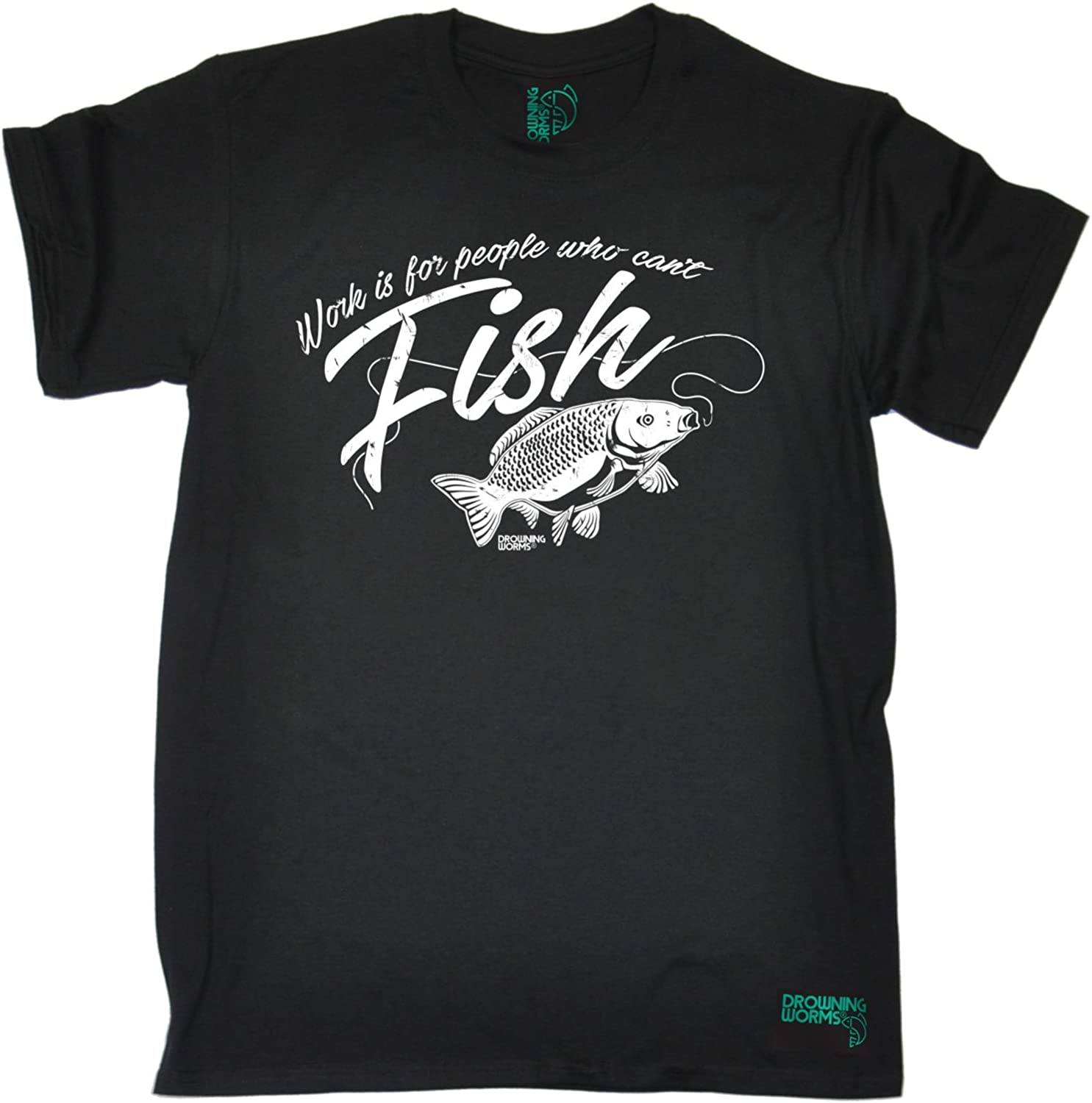 Work Is For People Can/'t Fish MENS Drowning Worms T-SHIRT tee birthday gift fish