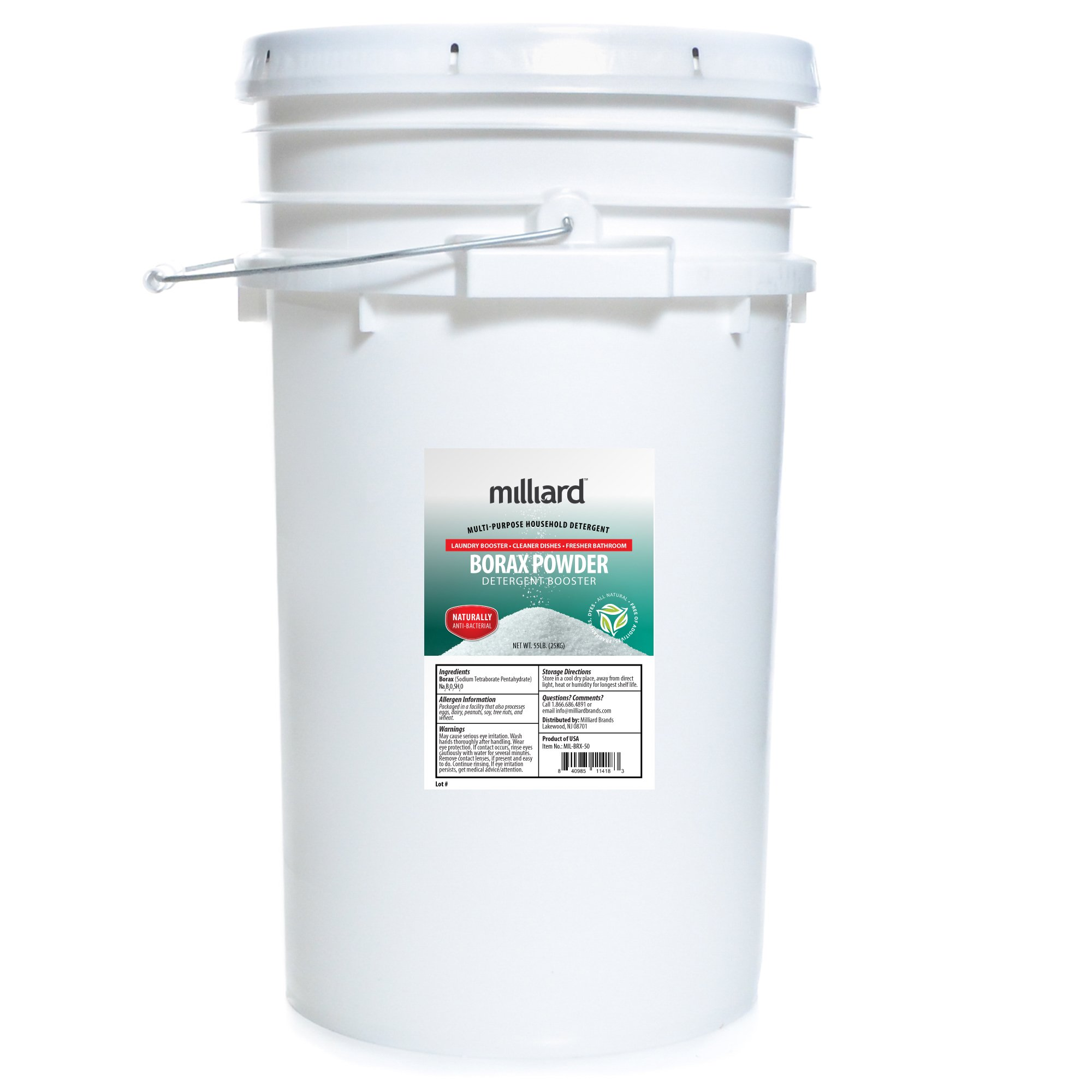 Milliard Borax Powder 55 Pound Bulk -Pure Multi-Purpose Cleaner, Comes in a Re-sealable Plastic Pail (55 POUNDS) by Milliard