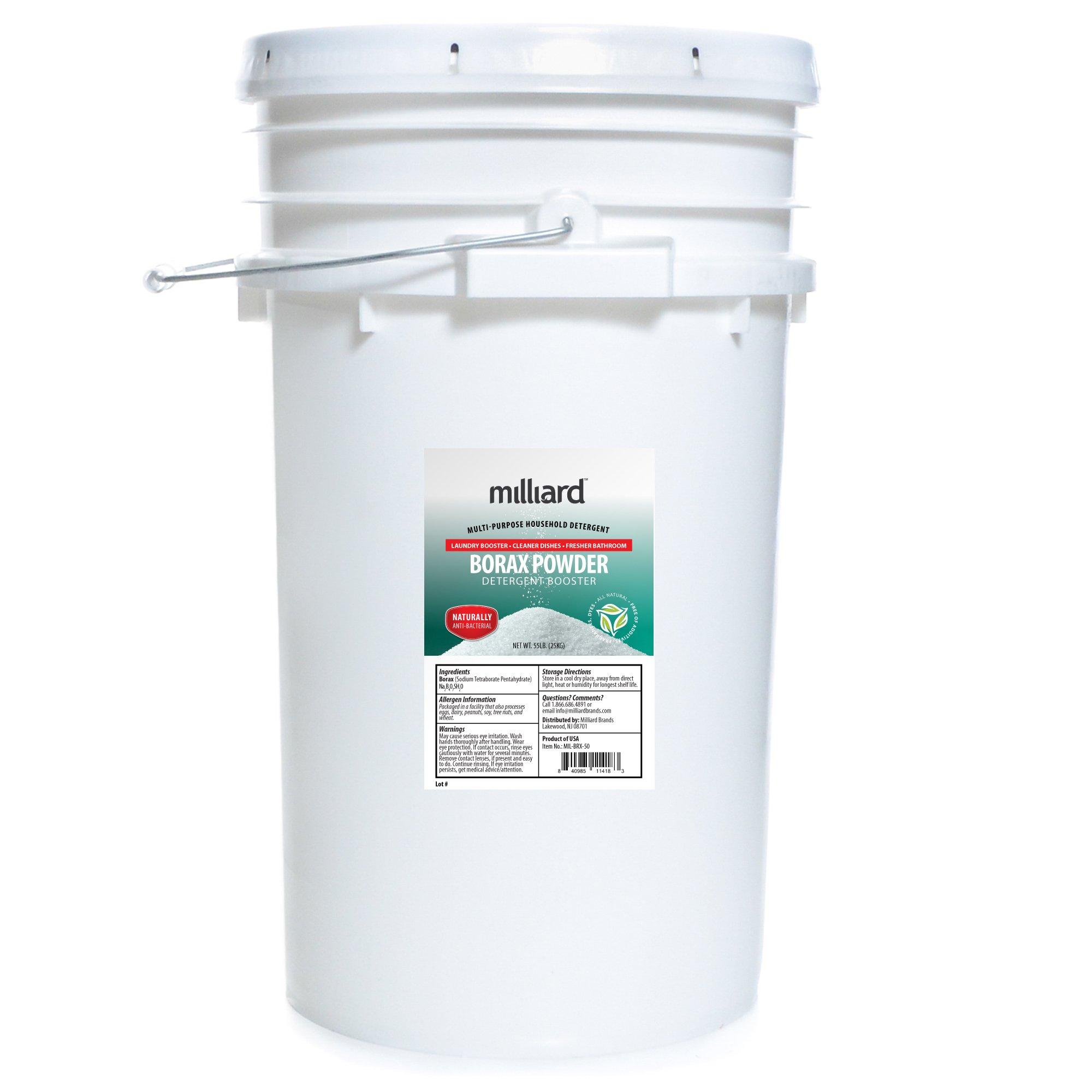 Milliard Borax Powder 55 Pound Bulk -Pure Multi-Purpose Cleaner, Comes in a Re-sealable Plastic Pail (55 POUNDS)