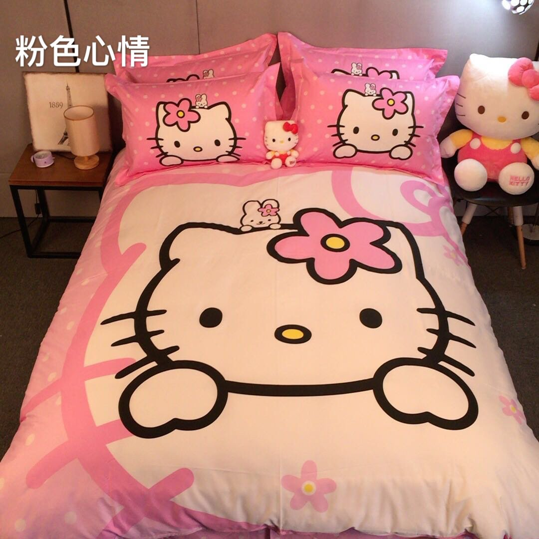 CASA Children 100% Cotton Hello Kitty Duvet cover and Pillow cases and Fitted Sheet, Duvet cover set, 4 Pieces, Full