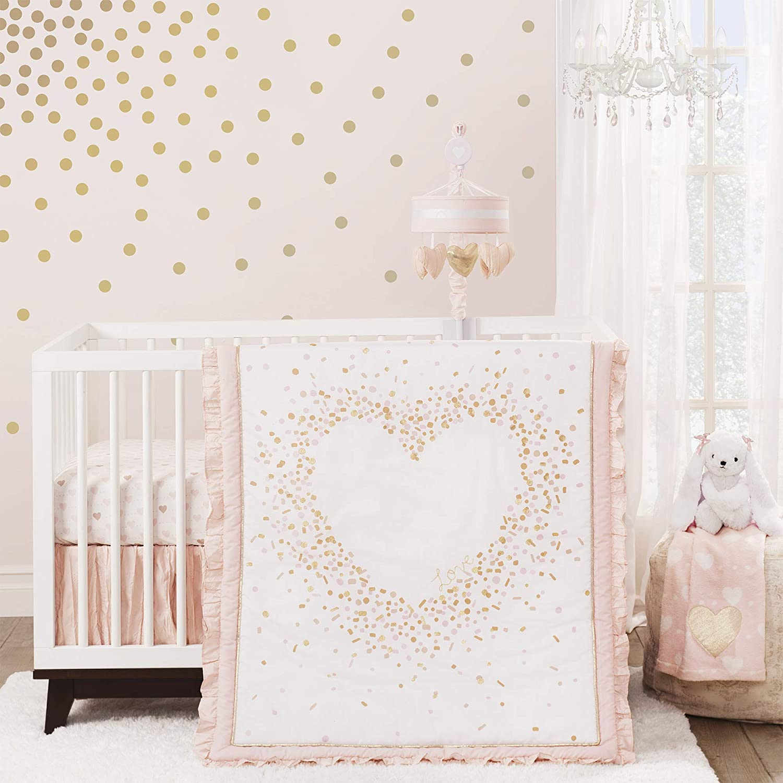 Lambs & Ivy Sweetheart 3-Piece Crib Bedding Set - Pink, Gold, White, Love