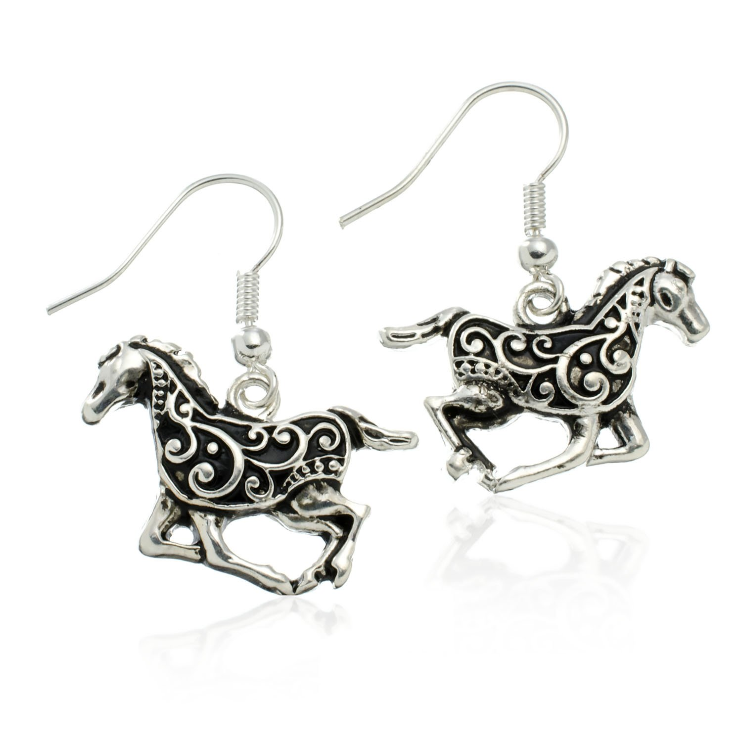 Black and Silvertone Running Horse Dangle Earrings PammyJ Horse Earrings