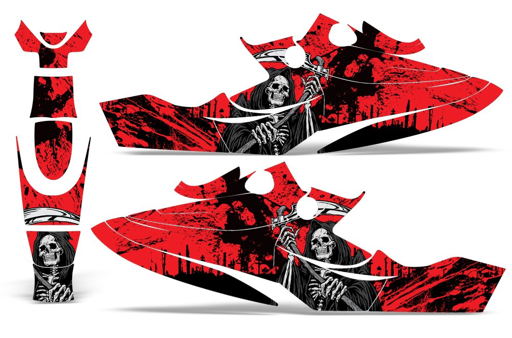 Bombardier SeaDoo GSX 1996-1999 Decal Graphic Wrap Kit Jet Ski Jetski Parts Sea Doo REAPER RED by Wholesale Decals (Image #2)