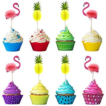 3D Flamingo Pineapple Cupcake Toppers Picks For Cake Decorations