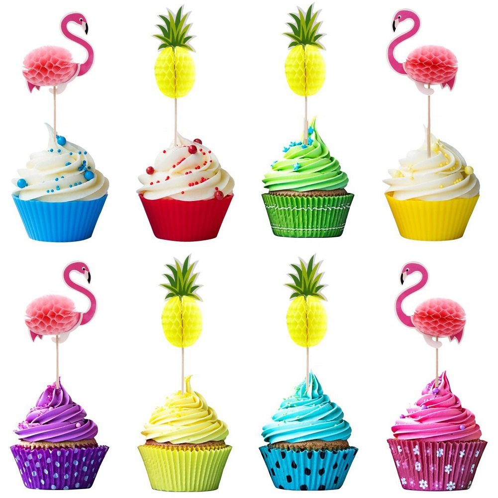3D Flamingo Pineapple Cupcake Toppers Picks for Cake Decorations Hawaii Party Favors Tropical Hawaii Theme Summer Birthday Party Supplies