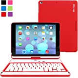 Snugg™ iPad Air 360° Rotatable Keyboard Case Ultra Slim Keyboard Case with Bluetooth Connectivity & Lifetime Guarantee (Red) For Apple iPad Air