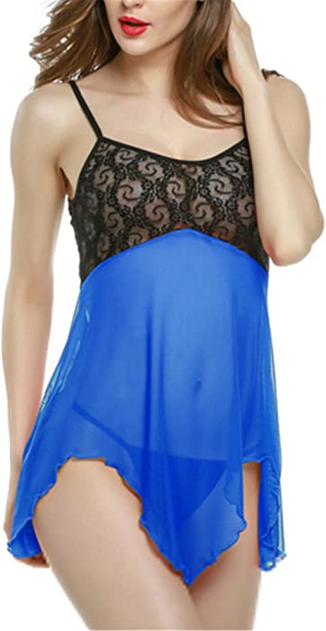 Hoared Plus Size Babydoll Lingerie Women Ropa Interior Mujer Sexy Erotica Lingerie Sexy Underwear Blue S