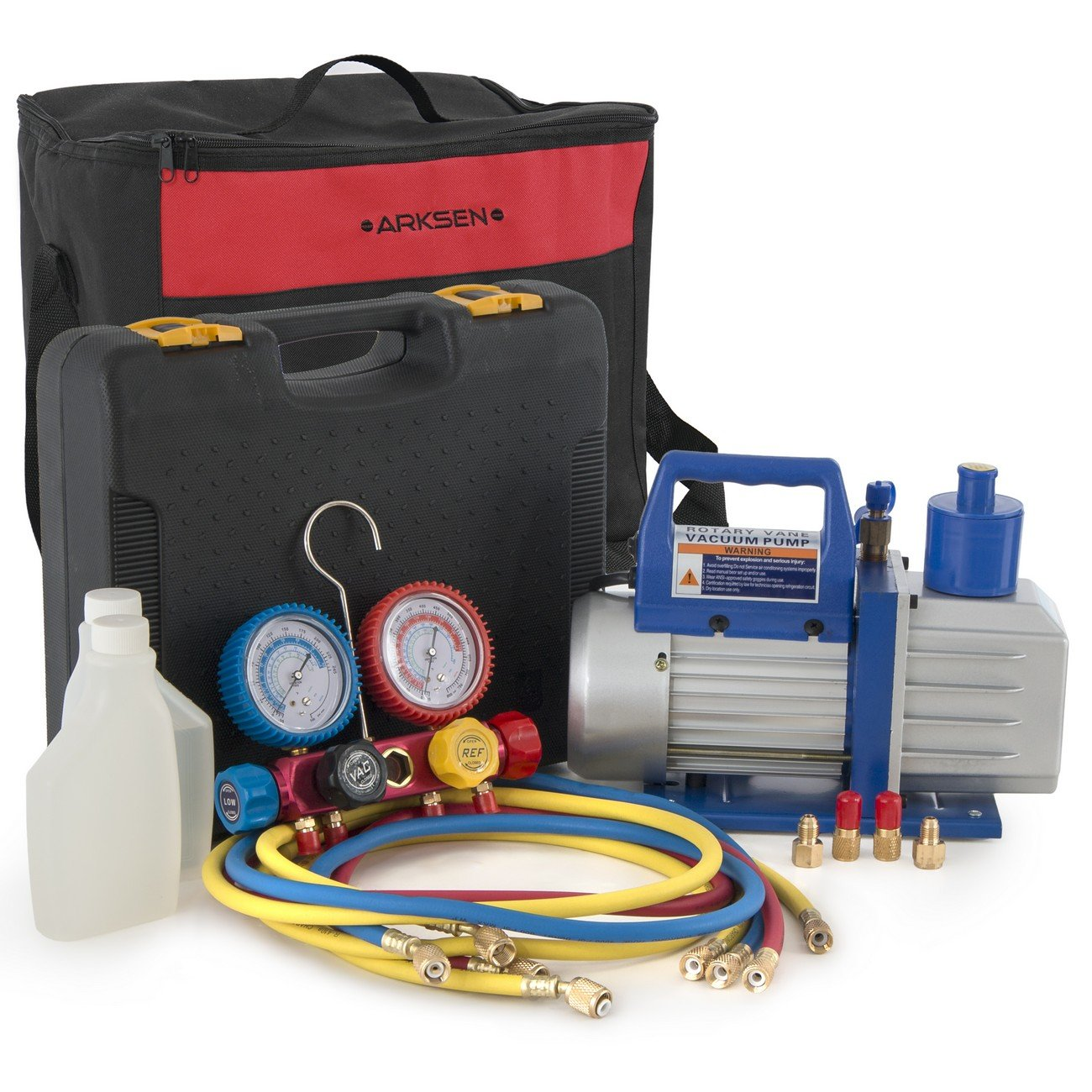ARKSEN 5CFM Vacuum Pump Manifold Gauge R404A R410A R22 Refrigerant w/ Carrying Tote Bag Set