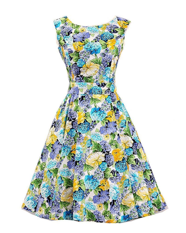 SaiDeng Damen Jahrgang 1950s Garten Partei Picknick Kleid