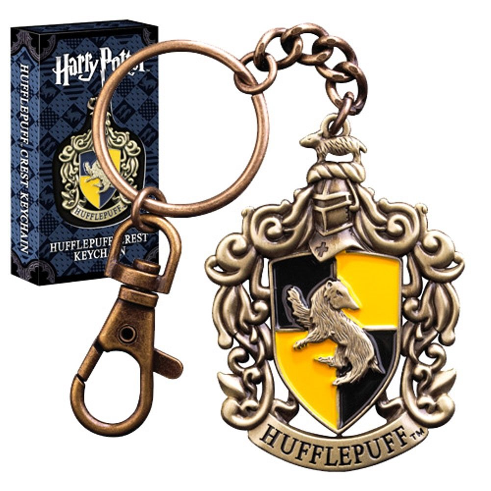 Official Harry Potter Hogwarts Hufflepuff Crest DieCast Metal Collectable Keychain - Boxed Noble Collection