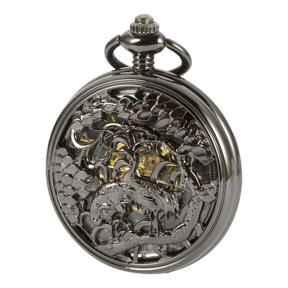 ManChDa Black Automatic Mechanical Pocket Watch Cranes Carved Mens Skeleton For Men Women
