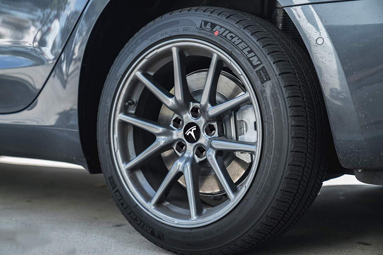 X /& 3 Wheel Center Cap Cover 4 Black//White New Tesla Model S