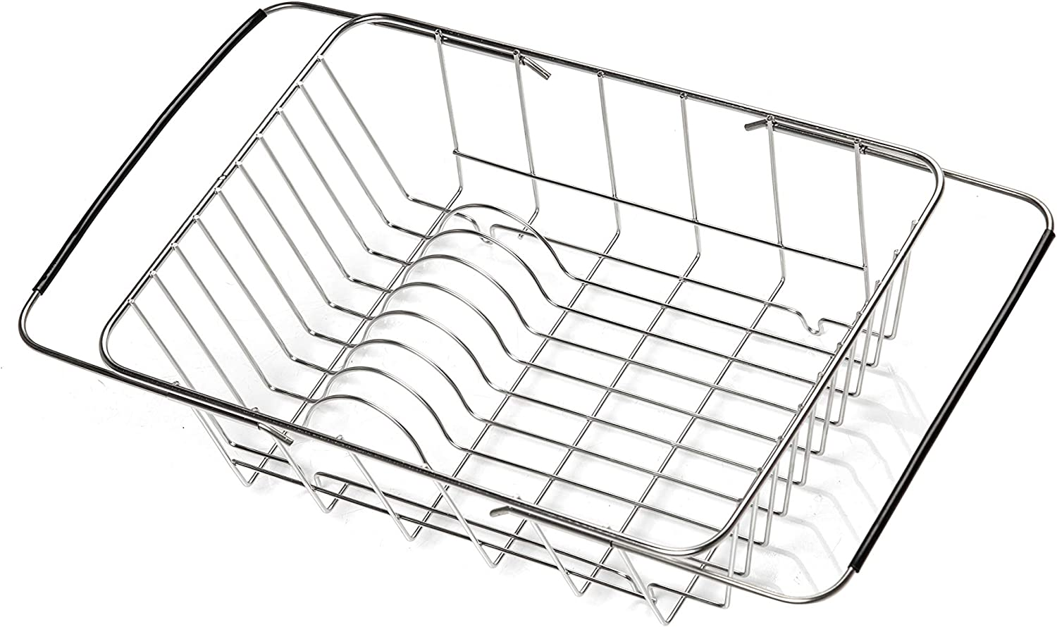 Expandable Dish Drying Rack, Dish Rack in Sink or On Counter, Dish Drainer Stainless Steel