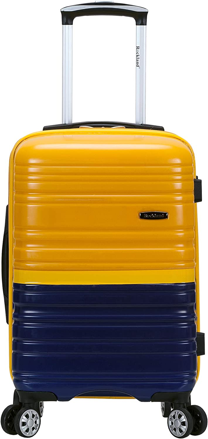 Rockland Melbourne Hardside Expandable Spinner Wheel Luggage, Two Tone Navy, Carry-On 20-Inch